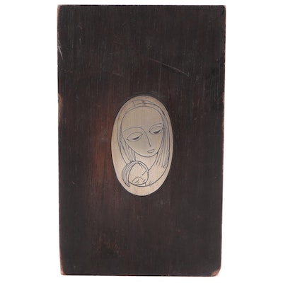 Emaus Sterling Silver Madonna and Child Icon Medallion on Wood Plaque, c. 1970
