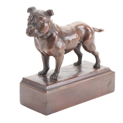 Bronze-Clad Metal Bulldog Form Figurine