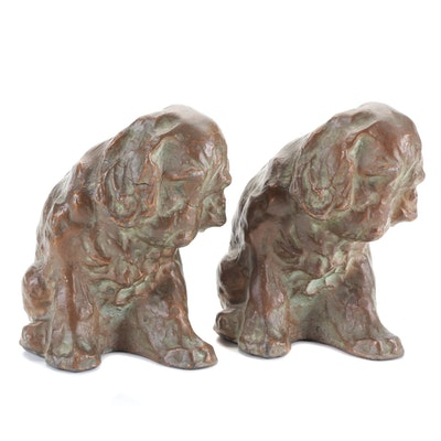 Mcclelland Barclay Bronzed Metal Dog Bookends, Early to Mid 20th Century