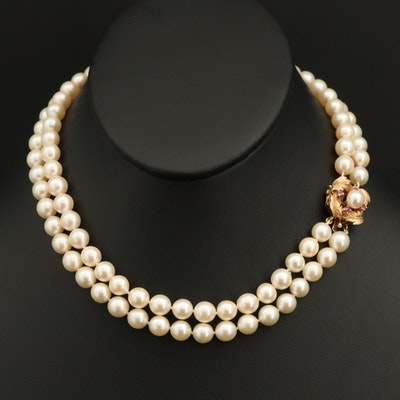 14K Pearl and Ruby Clasp on Double Strand Pearl Necklace