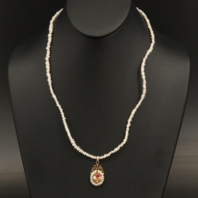 10K Ruby and Pearl Flower Necklace