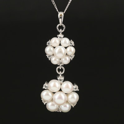 Sterling Pearl and White Topaz Pendant Necklace