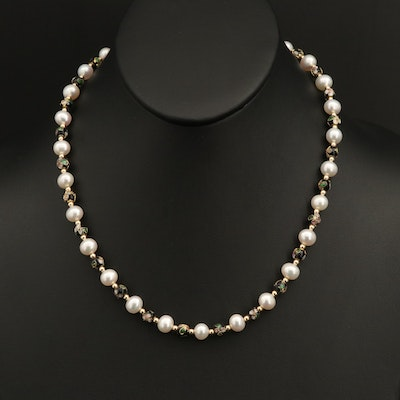 14K Pearl and Cloisonné Bead Necklace