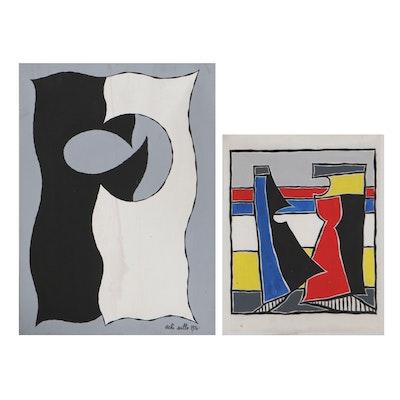 Achi Sullo Abstract Acrylic Paintings, Circa 1966