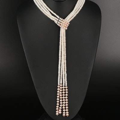 Pearl Lariat Necklace with 14K Bead Accents