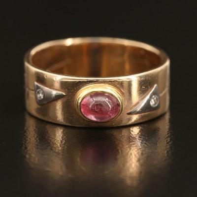 14K Sapphire and Diamond Ring with Geometric Design