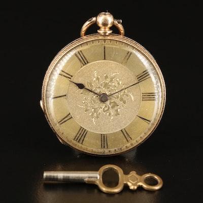 14K George Dyer Key Wind & Set Pocket Watch