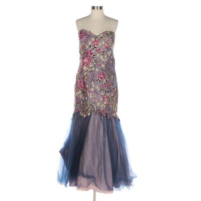 Ellie Wilde Floral Embellished Tulle Mermaid Gown