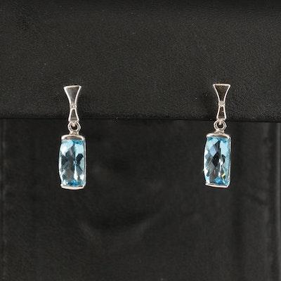 14K Sky Blue Topaz and Diamond Drop Earrings
