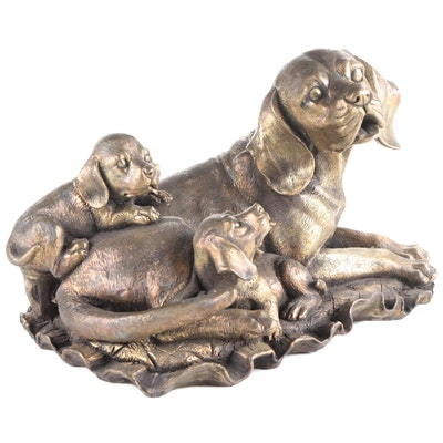 Brass Dog with Puppies Form Figurine