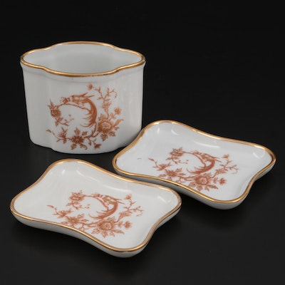 Limoges Porcelain Vanity Dish and Trays, Mid to Late 20th Century