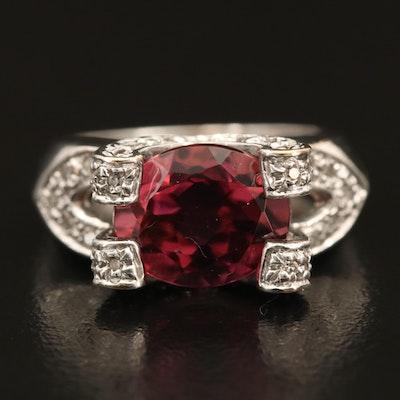 14K Gold 4.10 CT Rubellite Tourmaline and Diamond Ring