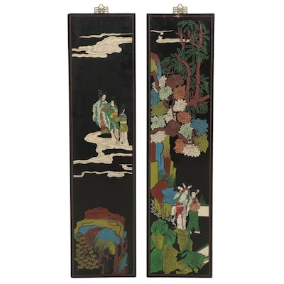 Two Japanese Vertical Figural Panels