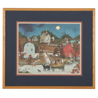 """Linda Nelson Stocks Trick-or-Treat Offset Lithograph """"My First Halloween,"""" 1991"""