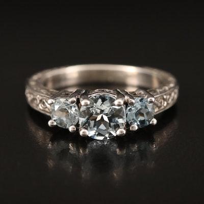 Sterling Aquamarine Three Stone Ring