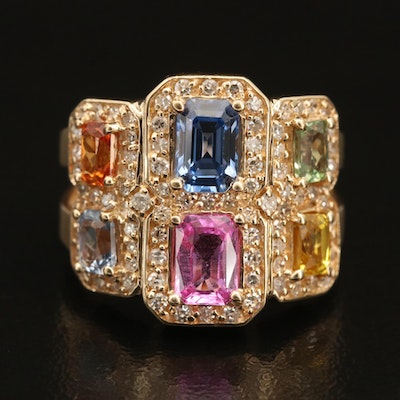 14K Gold Multicolored Sapphire and Diamond Ring