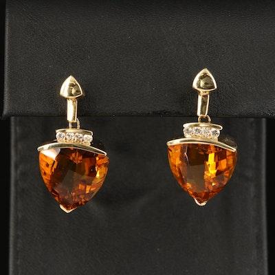 14K Glass and Diamond Earrings