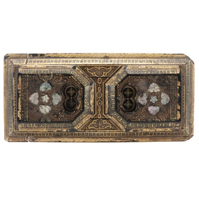 Indo-Persian Style Parcel Gilt and Abalone Inlaid Lacquerware Book Rack