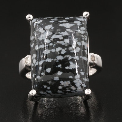 Sterling Silver Snowflake Obsidian and White Topaz Ring