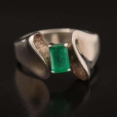 Sterling Emerald Abstract Ring