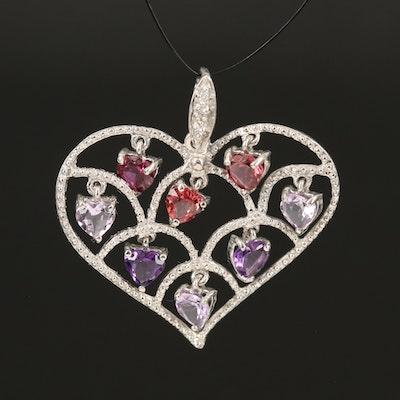 Sterling Gemstone Heart Pendant