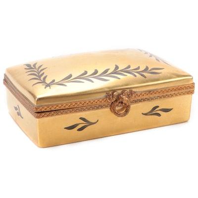 Hand-Painted Gilt Limoges Porcelain Trinket Box