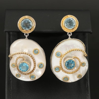 Sterling Mother of Pearl and Topaz Earrings