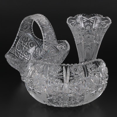 American Brilliant Cut Glass Vase and Bowls