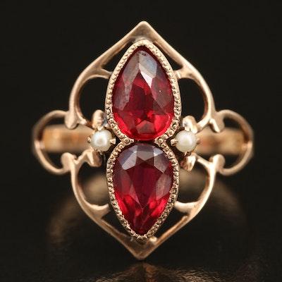 Vintage 10K Garnet Glass Doublet and Pearl Openwork Ring