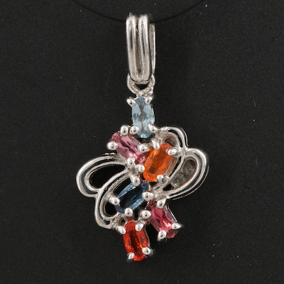 Sterling Silver Aquamarine, Pink Tourmaline and Fire Opal Pendant