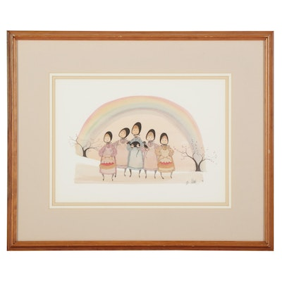"""Patricia Buckley Moss Offset Lithograph """"Rainbow Girls,"""" 1989"""