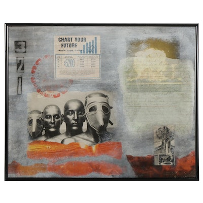 Nuclear War-Themed Mixed Media Painting, 21st Century