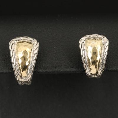 John Hardy Sterling and 22K J Hoop Earrings