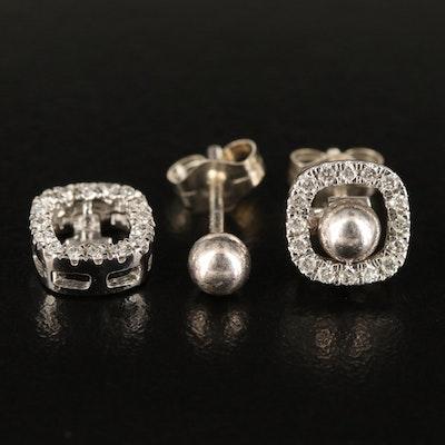 Sterling Stud Earrings with 14K 0.23 CTW Diamond Convertible Jacket/Enhancers