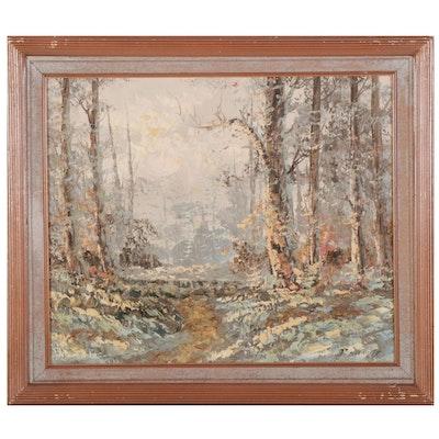 P. Stirrat Forest Path Impasto Oil Painting, Late 20th-21st Century