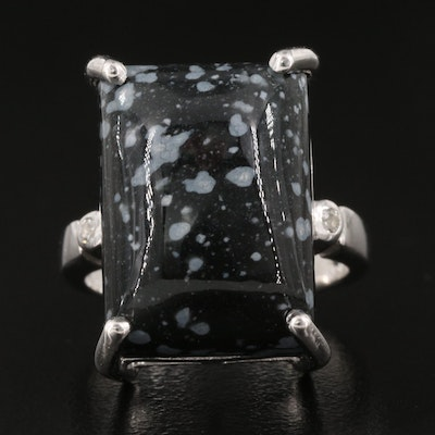 Sterling Silver Snowflake Obsidian Ring with White Topaz Accents