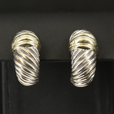 """David Yurman """"Thoroughbred"""" Sterling Earrings with 14K Accents"""