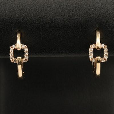 10K 0.12 CTW Diamond Hoop Earrings