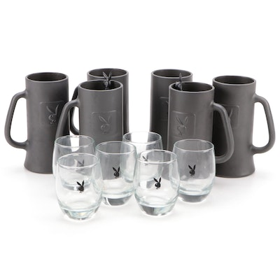 Playboy Bunny Head Logo Low Ball Glasses with Steins and Swizzle Sticks