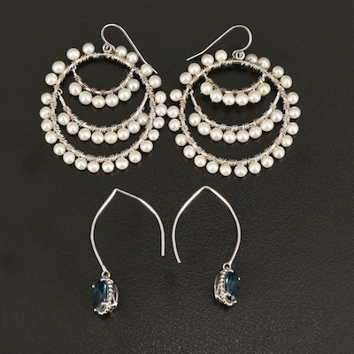 Sterling Pearl and Color-Change Glass Earrings