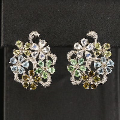 Sterling Floral Cluster Earrings Including Rainbow Moonstone and Tourmaline