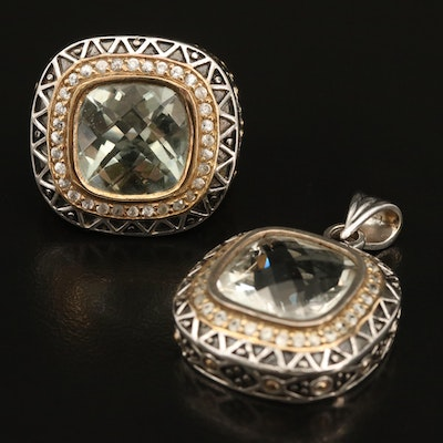 Sterling Prasiolite and Zircon Pendant and Ring