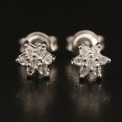 Sterling Zircon Cluster Stud Earrings