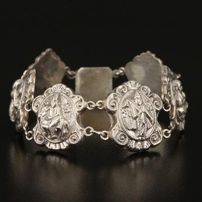 Sterling Hindu Gods Panel Bracelet