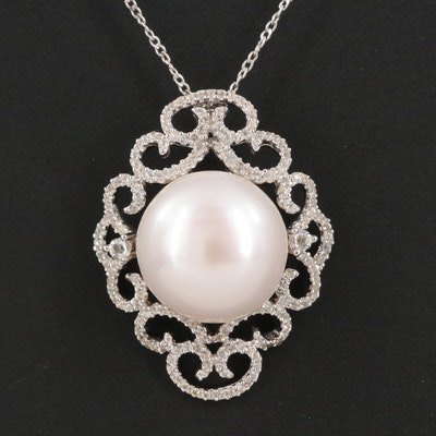 Sterling Pearl and White Topaz Scrollwork Pendant Necklace