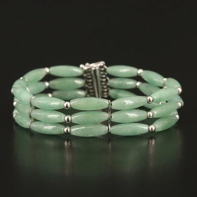 Sterling Silver Jadeite Triple Row Bracelet