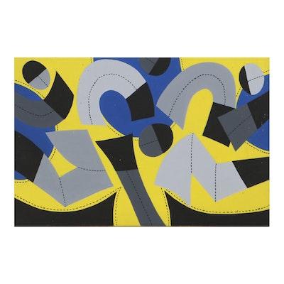 Achi Sullo Abstract Acrylic Painting, Circa 1966