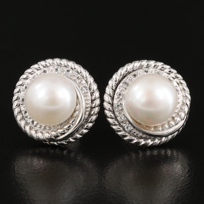 Sterling Pearl and White Topaz Earrings