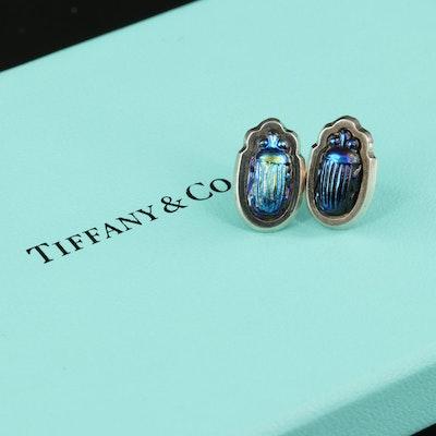 Tiffany & Co. Sterling Favrile Glass Scarab Stud Earrings