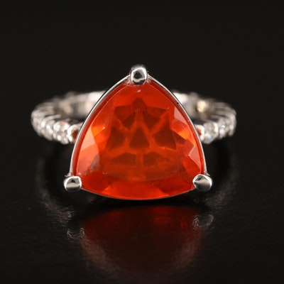 14K Fire Opal and Diamond Ring